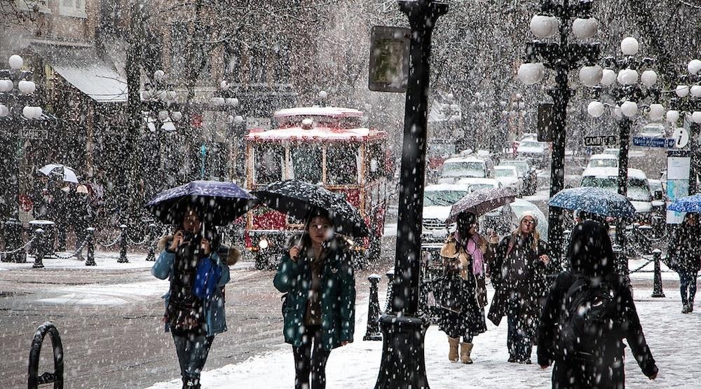 Vancouver snow snowfall gastown