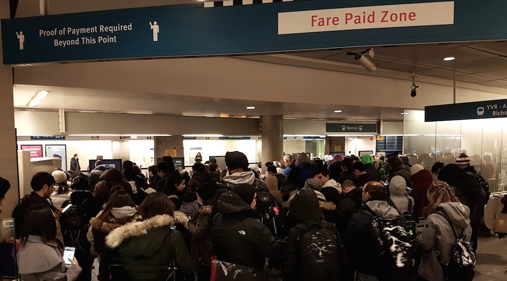 "Canada Line SkyTrain experiencing ""system-wide hold"" due to track issue"