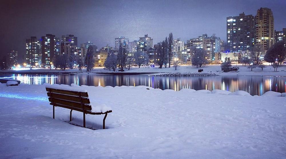 Vancouver snow snowfall english bay