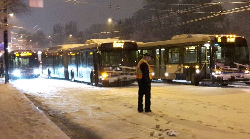 Snowfall-induced transit disruptions in Metro Vancouver on Saturday