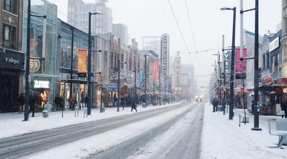 Granville street downtown vancouver snow snowfall