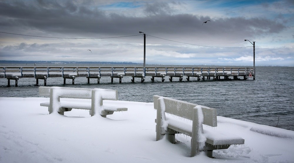 Surrey crescent beach snow snowfall