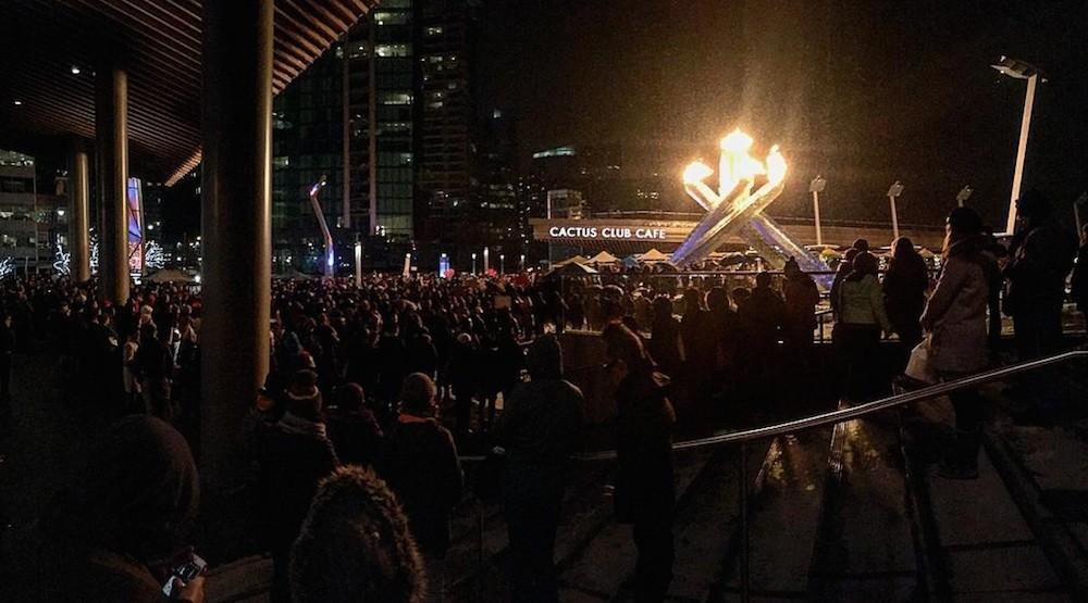 Vancouver vigil quebec city terror attack olympic cauldron jack poole plaza