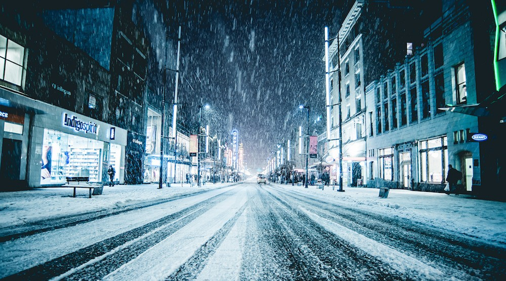Granville street downtown vancouver snow snowfall1