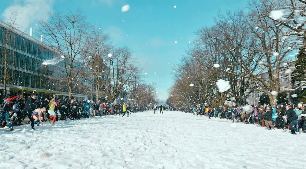Ubc vancouver snowball fight snow