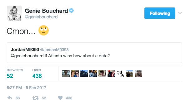 genie bouchard super bowl date