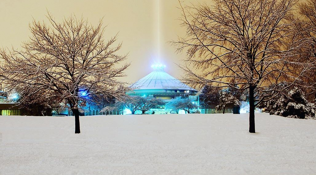 HR MacMillan Space Centre in the snow in Vancouver (Ken Stewart/Instagram)