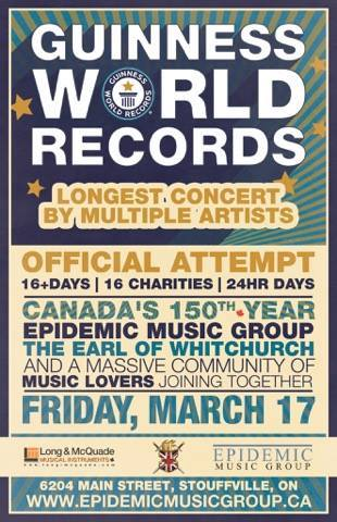 a guinness world record attempt to perform the longest concert is