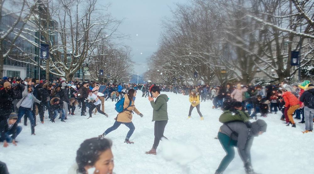 Campus-wide snowball fight at UBC postponed due to snow