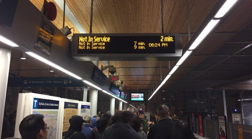 Skytrain canada line delays snow snowfall