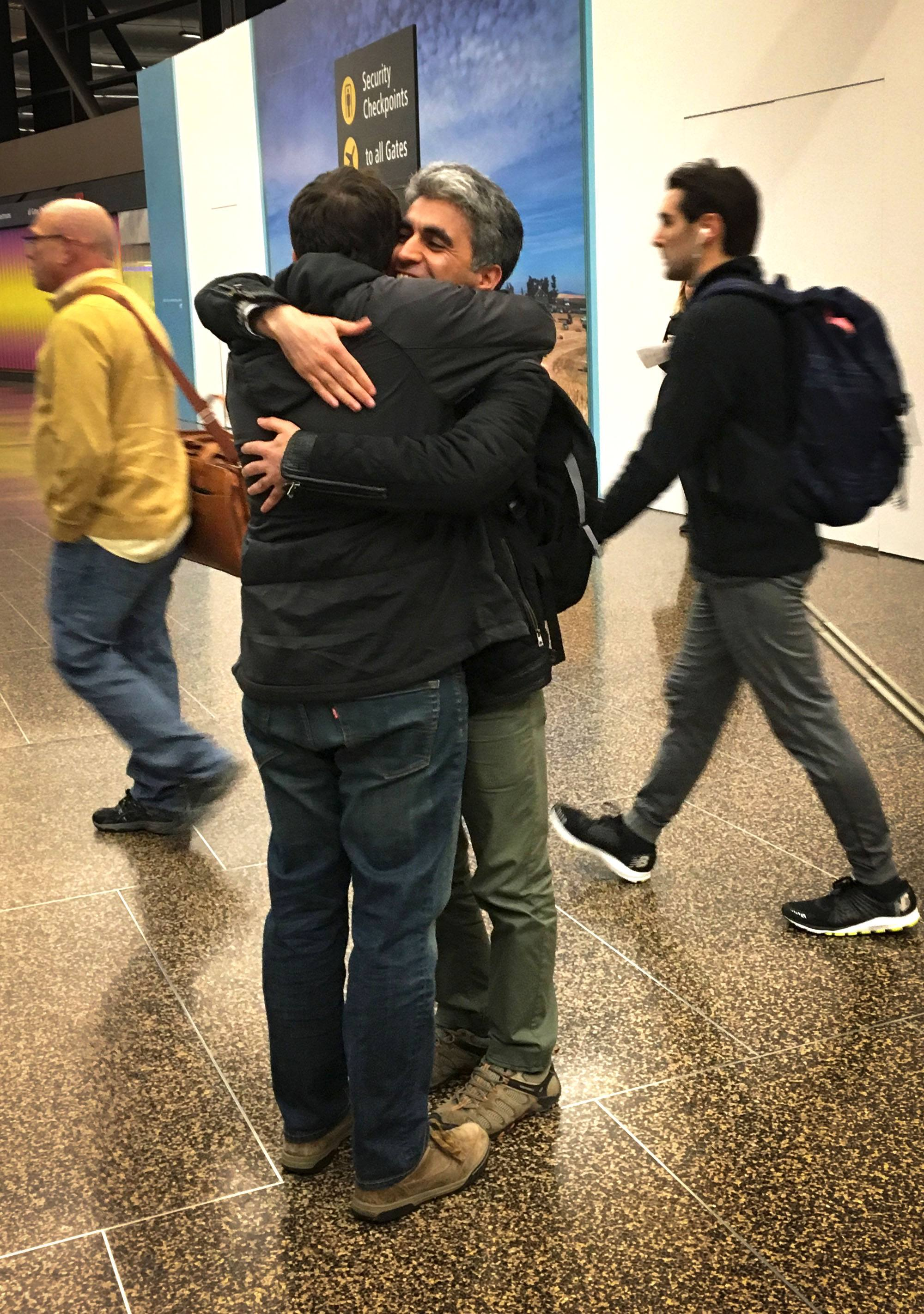 Arash arriving in Seattle on Tuesday night (David Parsons)