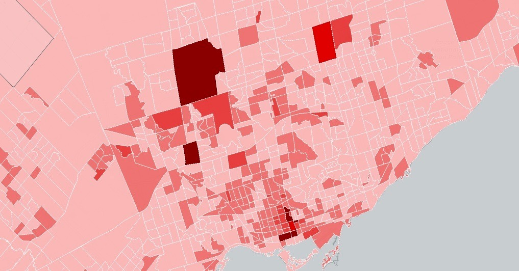 Interactive map shows percentage of unoccupied homes in Toronto in every neighbourhood