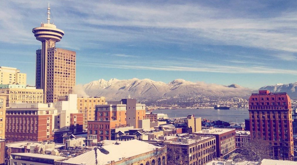 Vancouver harbour centre skyline snow snowfall