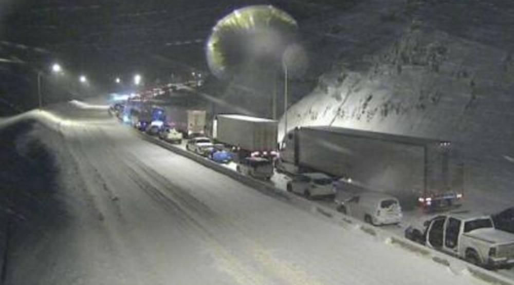 Coquihalla highway snow snowfall congestion