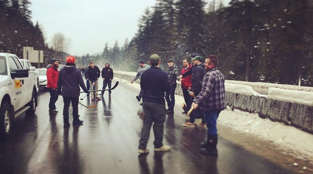 This might be the most Canadian highway closure photo ever taken