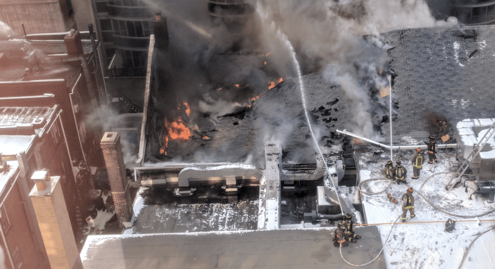 Crews are fighting a five-alarm fire at a commercial building at Yonge & St Clair (VIDEO)