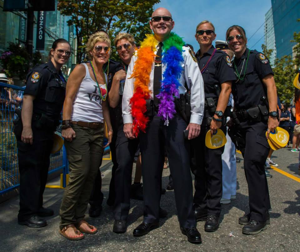 VPD Police Chief Adam Palmer with other sworn and civilian VPD member at the Pride Parade in 2015 (VPD/Facebook)