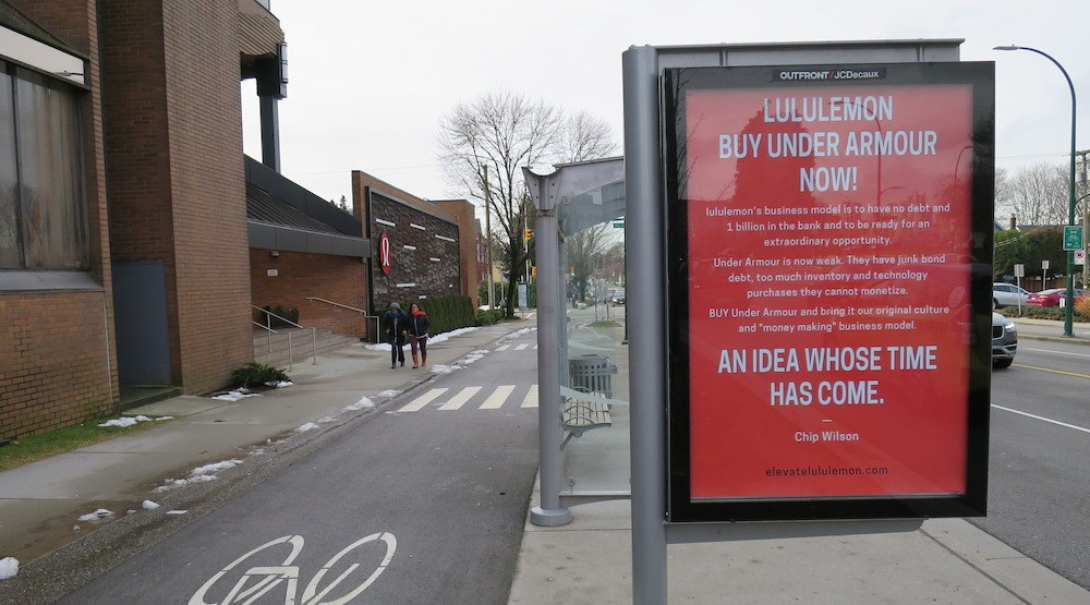 Chip Wilson posts bus stop ad asking lululemon to buy Under Armour