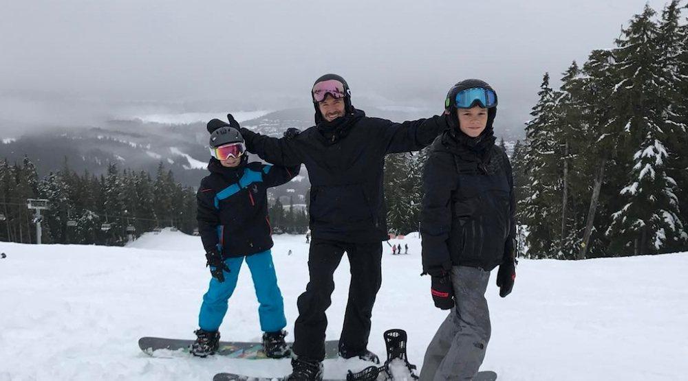 David beckham whistler family skiing snowboarding