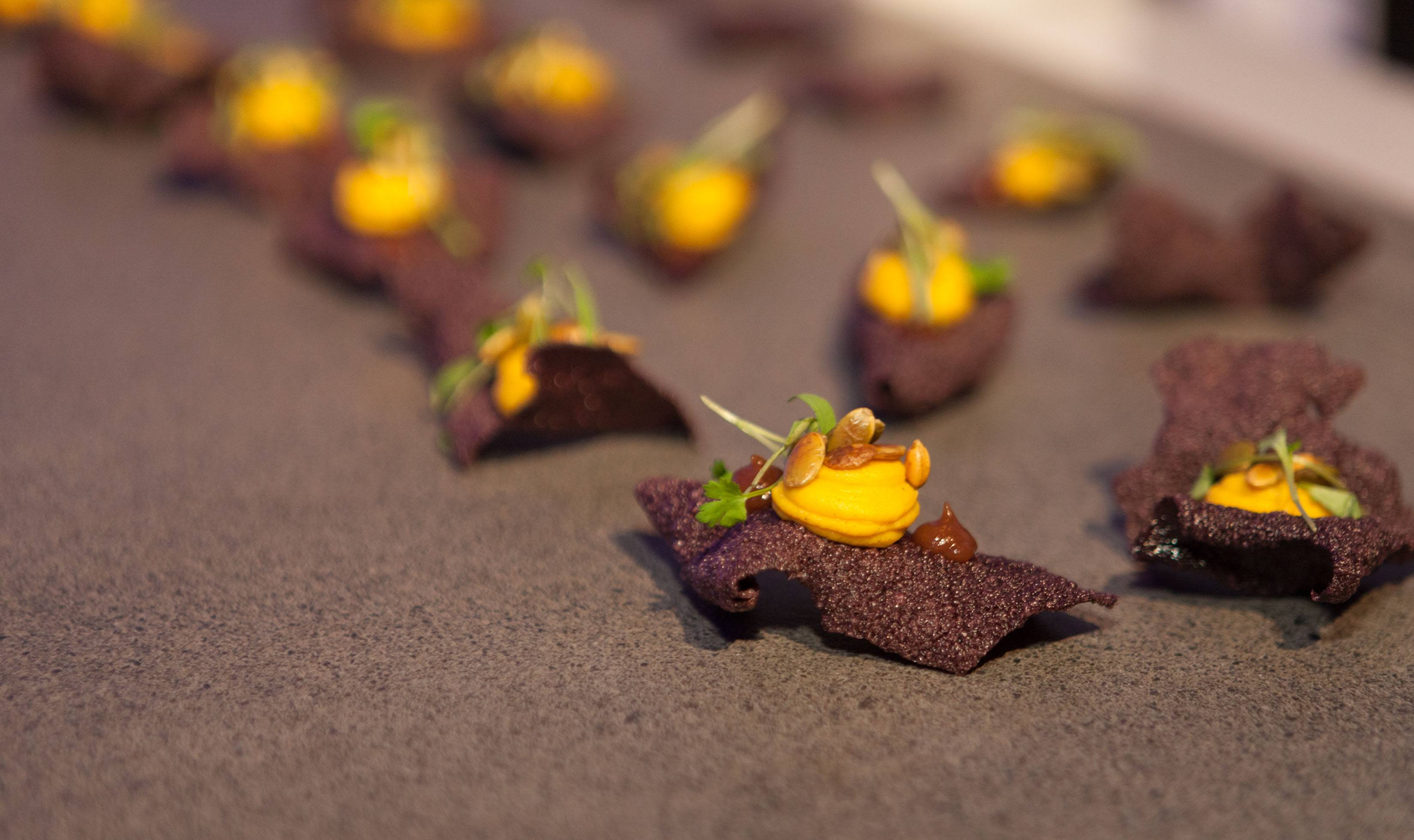 Pumpkin brûlée, puffed black rice and red onion chutney at Science of Cocktails (Picture Listen Photography)