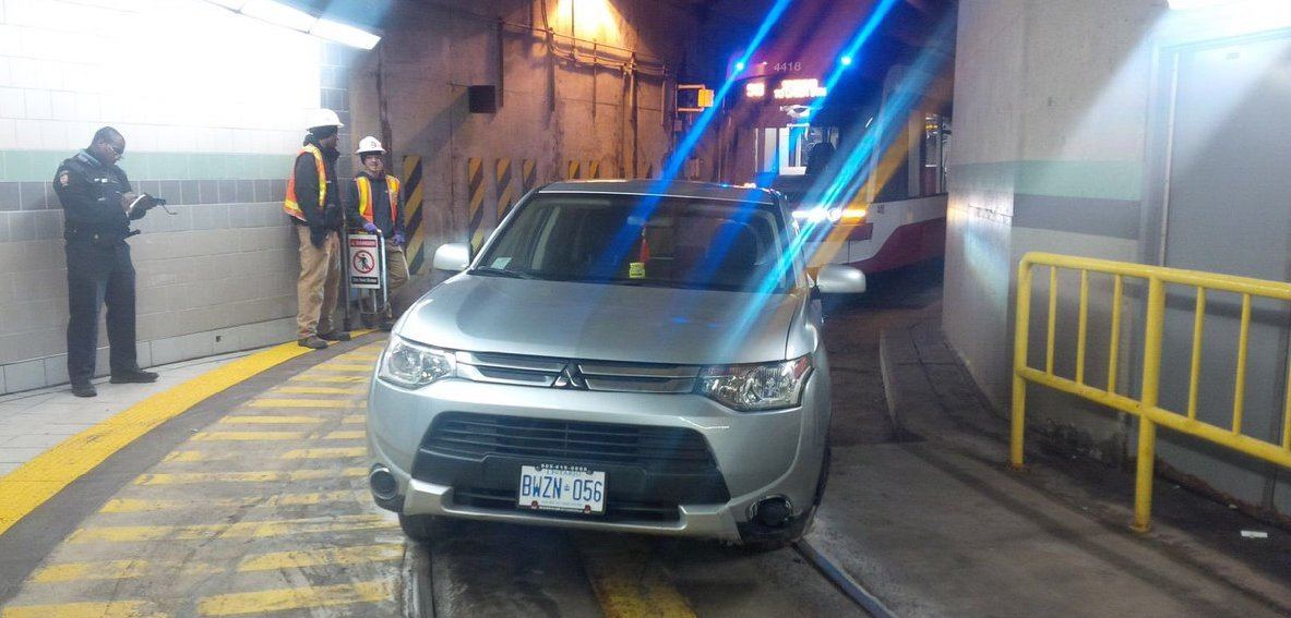 A car drove into the streetcar tunnel near Union Station this morning
