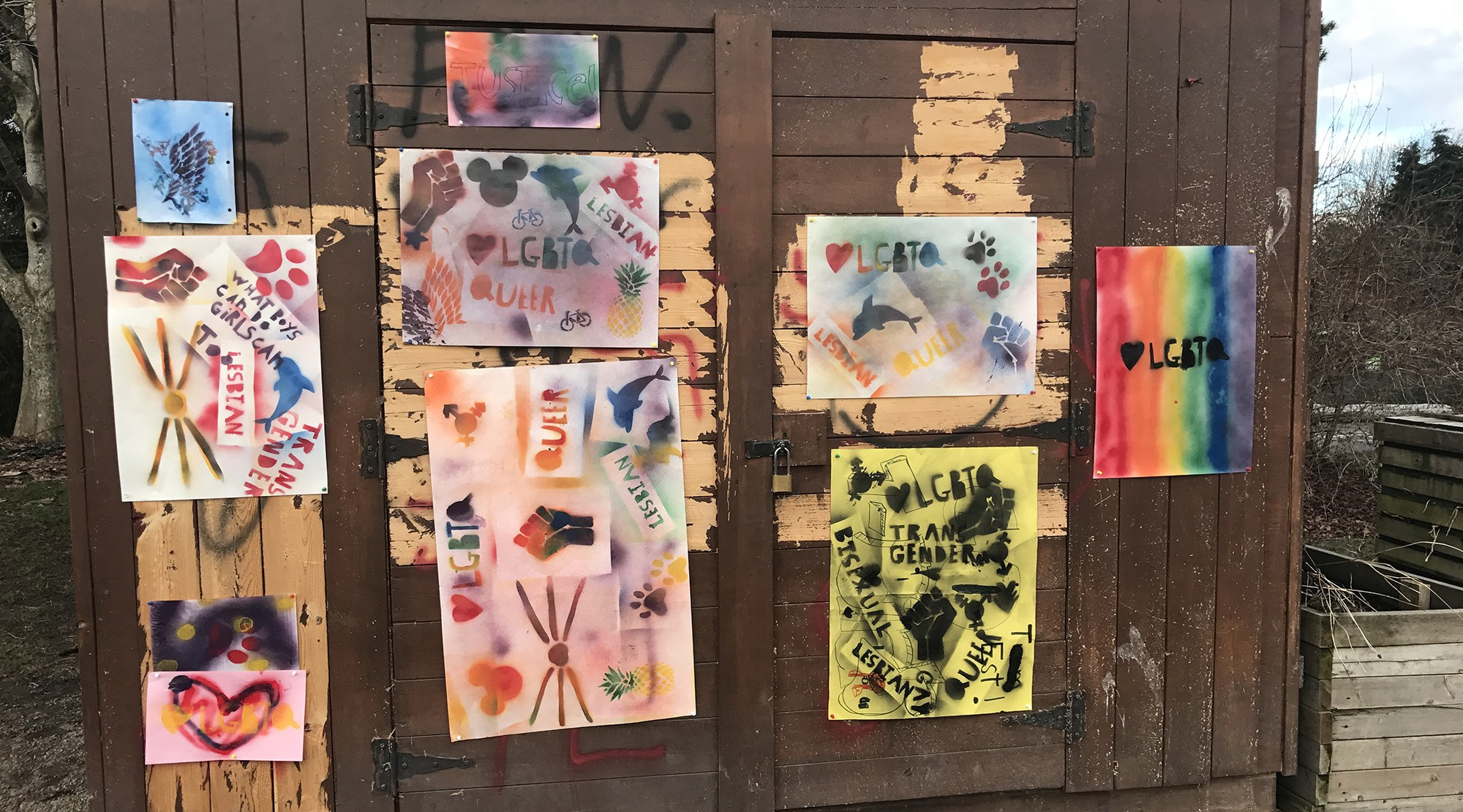 Students posters now cover up the graffiti in charleson park submitted