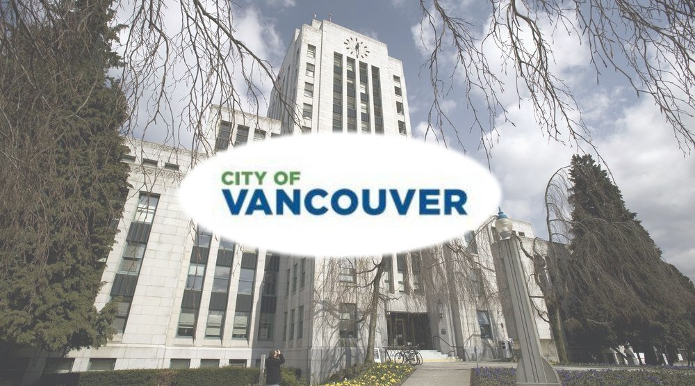 The new City of Vancouver wordmark set against a background of Vancouver City Hall (Daily Hive composite/City of Vancouver)
