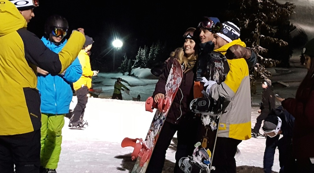 Pro snowboarders wow crowds at Grouse Mountain public park session