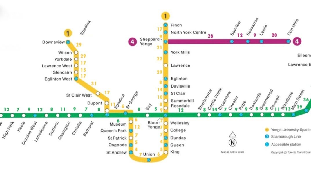 Reddit user makes new map showing walking times between TTC subway stations in Toronto