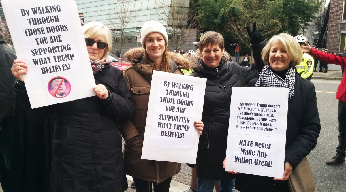These women were protesting for the first time ever at trump tower in vancouver on tuesday jenni sheppard daily hive