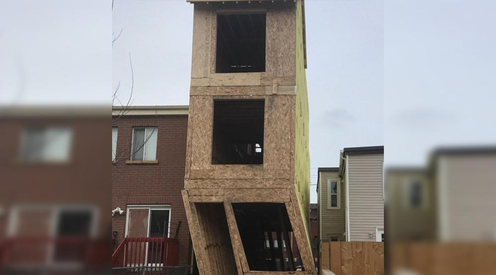 High winds almost toppled a Leslieville house last night in Toronto