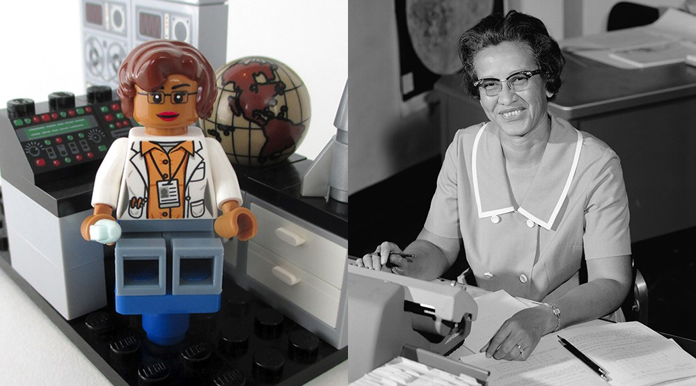 Mockup of the new LEGO minifig of mathematician and space scientist Katherine Johnson (Maia Weinstock/Flickr) and the real-life Katherine Johnson at NASA in 1966 (Public Domain/Wikipedia)