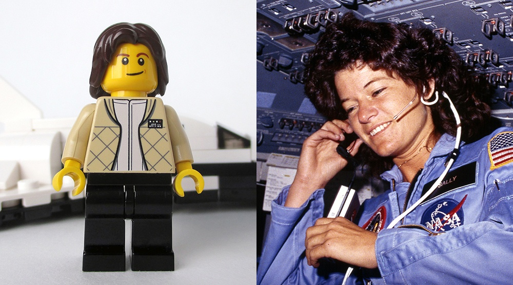 A mockup of the new LEGO minifig of astronaut, physicist and educator Sally Ride (Maia Weinstock/Flickr) and the real-life Sally Ride in space in 1983 (U.S. Information Agency/Wikipedia)