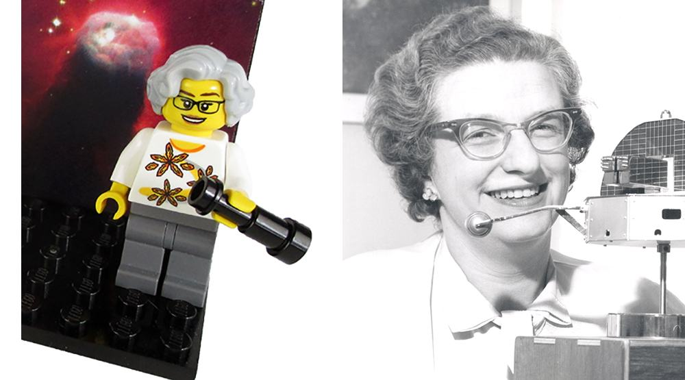 A mockup of the new LEGO minifig of astronomer Nancy Grace Roman (Maia Weinstock/Flickr) and the real-life Nancy Grace Roman with a model of the Orbiting Solar Observatory (NASA/Wikipedia)