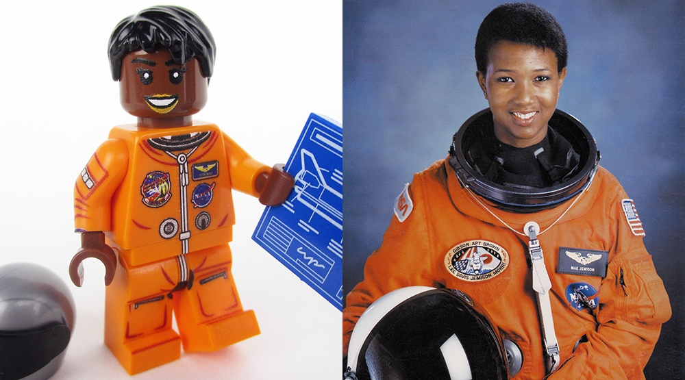 A mockup of the new LEGO minifig of astronaut Mae Jemison (Maia Weinstock/Flickr) and the real-life Mae Jemison in 1992 (NASA/Wikipedia)
