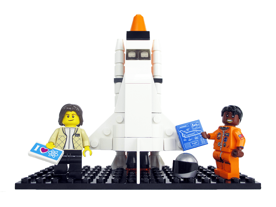 A mockup of the minifigs for astronauts Sally Ride and Mae Jemison in the new Women of NASA LEGO set (Maia Weinstock/Flickr)