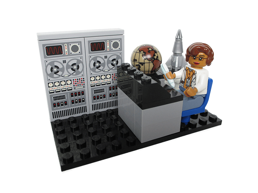 A mockup of the minifigs for mathematician and space scientist Katherine Johnson in the new Women of NASA LEGO set (Maia Weinstock/Flickr)
