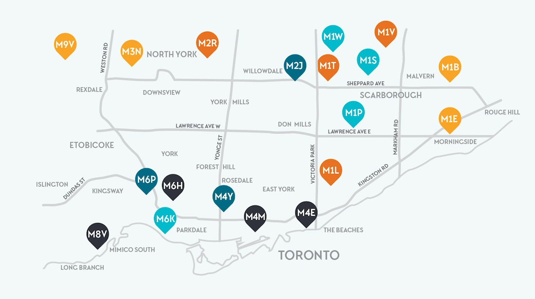 This map shows the 20 most affordable neighbourhoods for townhouses in Toronto