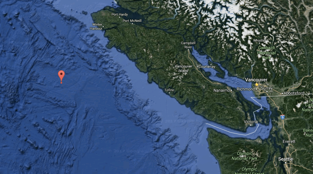 Magnitude 4 earthquake strikes west of Vancouver Island