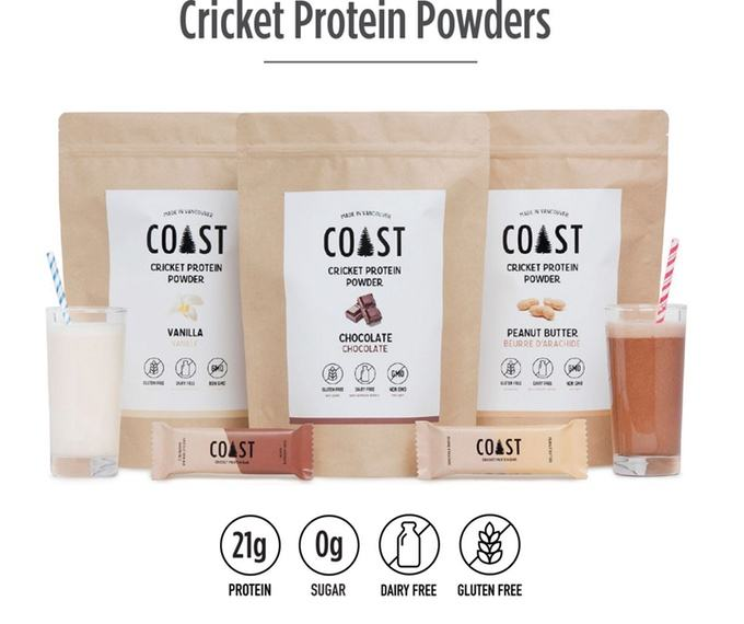 Coast Protein creates powders and bars out of crickets