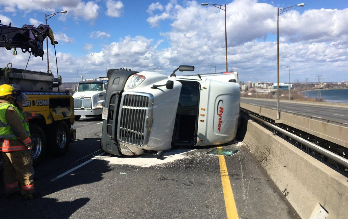 Burlington Skyway closed in both directions after high winds roll transport truck (PHOTOS)
