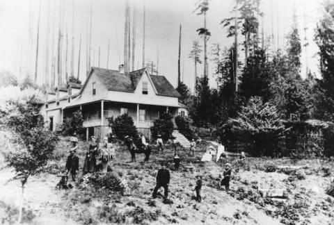 McLeery's Farmhouse in the 1880s, one of the first European homes in Vancouver (Vancouver Archives)