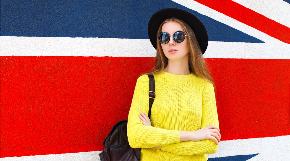 Woman in front of british flag rohappyshutterstock