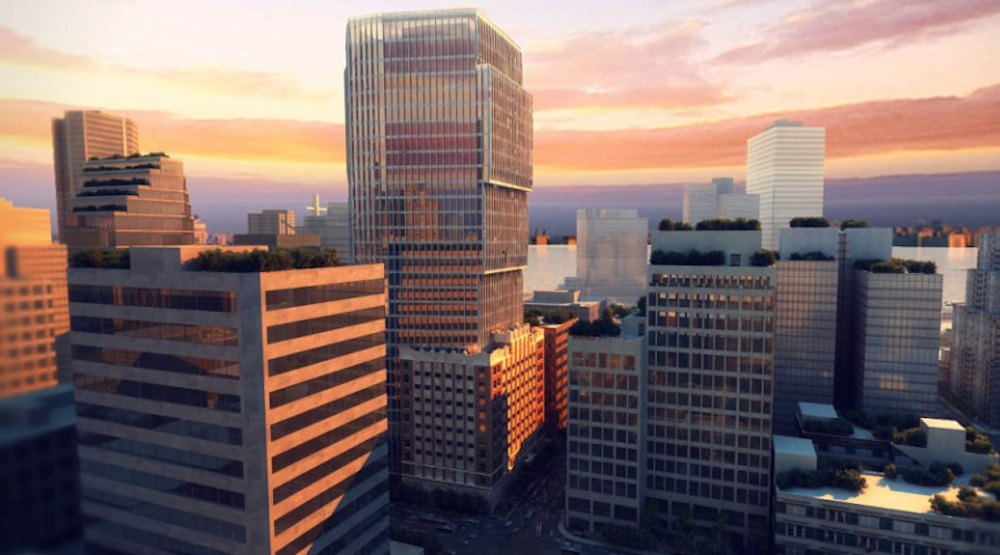 Revised plans for under-construction Exchange Tower consist of 202-room hotel