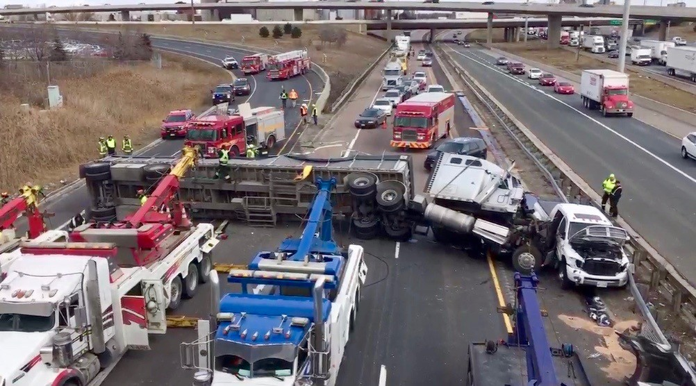 Highway 427 ramp to 401 closed after a rollover collision