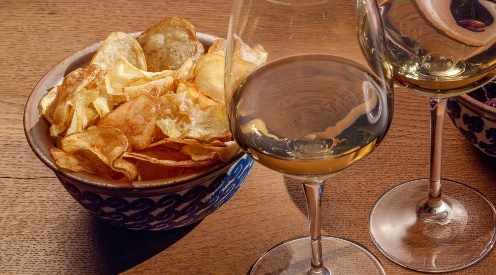Wine potato chips