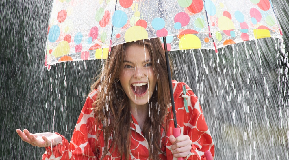 Woman with umbrella in the rain (oliveromg/Shutterstock)