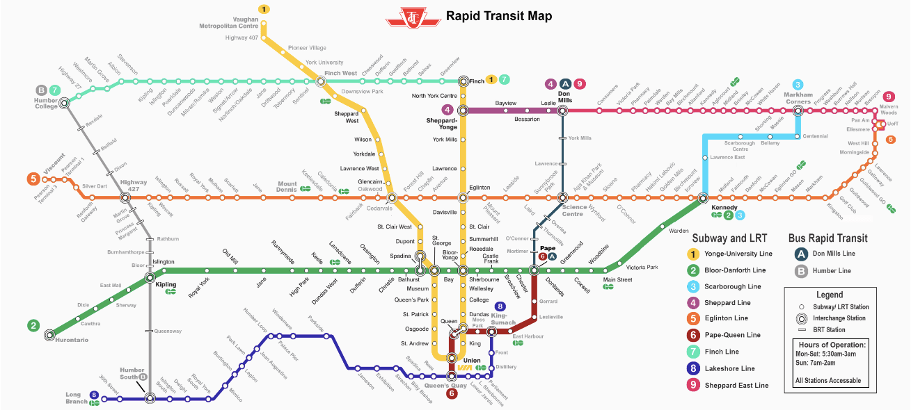 Fantasy Toronto Subway Map.Reddit User Makes Ttc Fantasy Map With 9 Lines Across The City