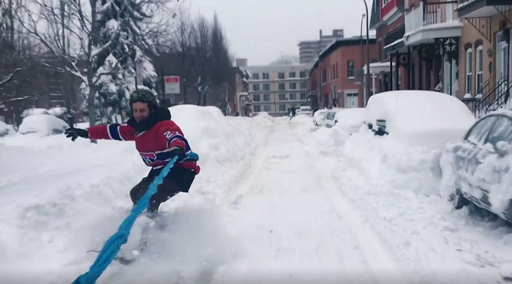 This Montrealer went snowboarding through the streets of Montreal during the storm