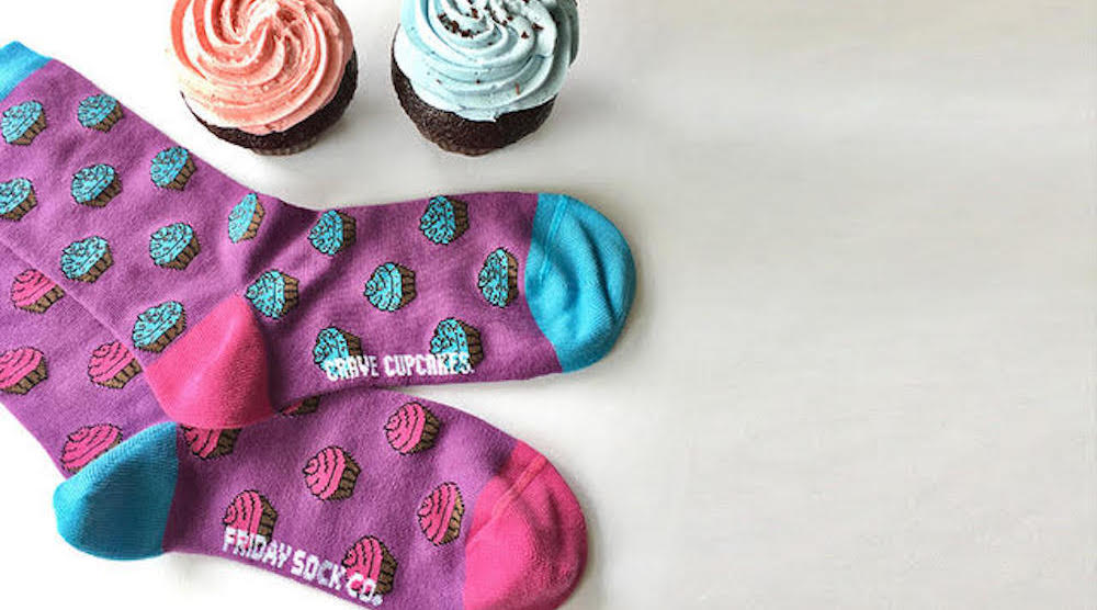 A sweet new collaboration featuring Friday Sock Co. + Crave Cupcakes